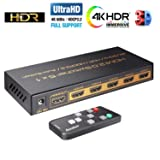 HDMI Switch 4k, HDMI Splitter Switch 5 in 1 Out HDMI Switcher with IR Remote Support 4K 60hz, 2K, 1080P, 3D, HDCP 2.2, UHD, HDR for PS 3/4, Xbox One/360, DVD Player, HDTV, Projector