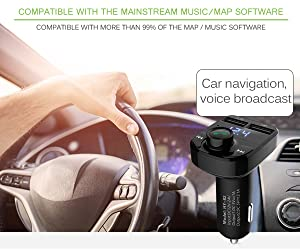 Bluetooth FM Transmitter, ONEVER Dual USB Car Charger Wireless in-Car Music Adapter Hands-Free Calling Car Kit, Music Player Support TF Card USB Flash
