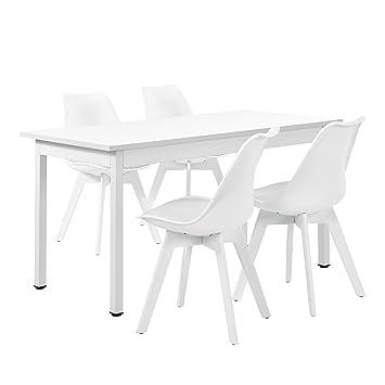[en.casa] Juego de comedor - mesa blanca 140cm x 60cm con 4 sillas blancas
