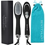 Hair Straightening Brush - BEATTYCARE 2-in-1 Ionic Hot Air Hair Dryer Straightener Comb Brush Styler, Auto Power-off Anti-scald Wind Temperature Adjustable With LED Display, Black