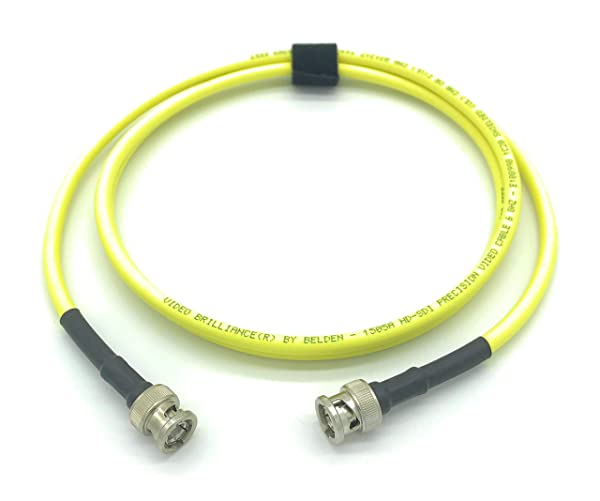 3ft AV-Cables 3G/6G HD SDI BNC Cable Belden 1505A RG59 - Yellow (3ft) (Color: Yellow, Tamaño: 3ft)