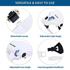 Yoctosun Head Mount Magnifier With 2 Led Professional Jeweler's Loupe Light Bracket And Headband Are Interchangeable