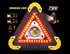 Triangle Emergency Warning Light,Outdoor LED Flood Light, Portable LED Work Light for Camping, Hiking, Car Repairing, 700 LUMENS,Weatherproof (Color: Black)