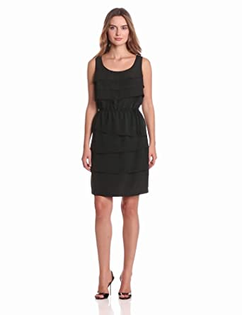 Gabby Skye Women's Tiered Ruffle Dress, Black, 6 Missy