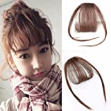 Reysaina Front Fringe Clip in Hair Extensions One Piece Striaght Air Fringe Hair Piece Accessories with Hair Temples Clip in Bangs Gringe #6 Medium Brown (Color: #6 Medium Brown, Tamaño: With Temple)