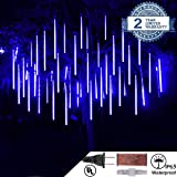 Yopin LED Meteor Shower Rain Lights, Waterproof Drop Icicle Snow Falling Raindrop 50CM 10 Tube Cascading Lights for Wedding Xmas Home Decor Party Holiday (50cm/1.6ft, Bule) (Color: Bule, Tamaño: 50cm/1.6ft)