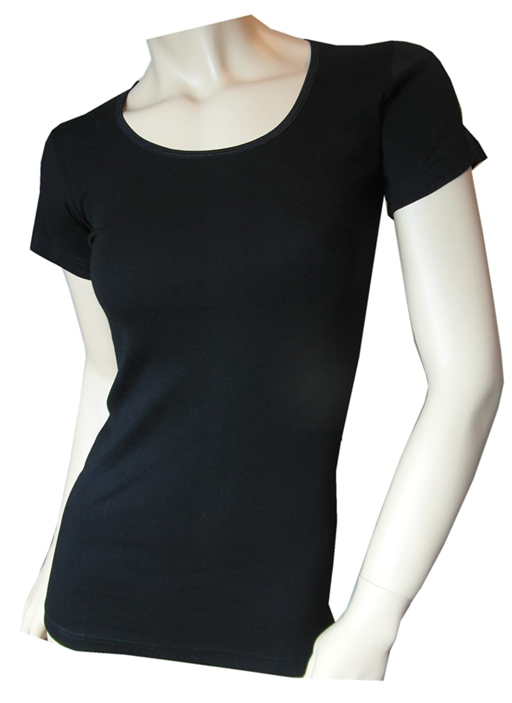 Damen Unterhemd halbarm schwarz von Einkaufszauber