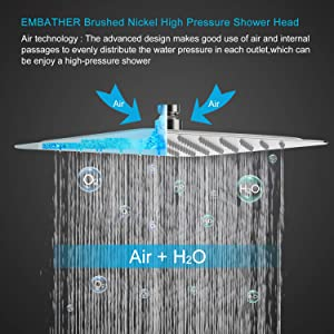 EMBATHER Shower System with Antirust Coating- Brushed Nickel Shower Faucet Set for Bathroom- 12 inches Square Rain Shower Head and Handheld- Easy Installation- Eco-Friendly (Color: Brushed Nickel Shower system, Tamaño: 12 Inch)
