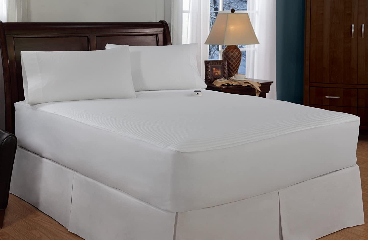Serta Damask Stripe Electric Heated Mattress Pad - Start saving on your  energy bill when you lower your thermostat and stay comfy with the all over  ...