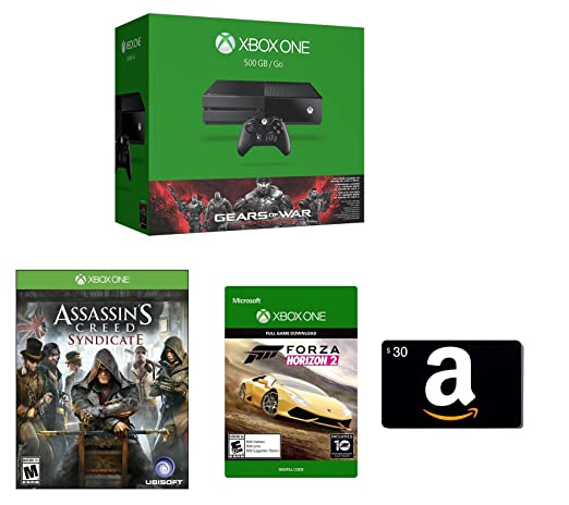 Xbox One 500GB Console - Gears of War: Ultimate Edition Bundle + Assassin's Creed Syndicate (Physical Disc) + Amazon.com $30 Gift Card (Physical Card) + Forza Horizon 2 (Digital Code)