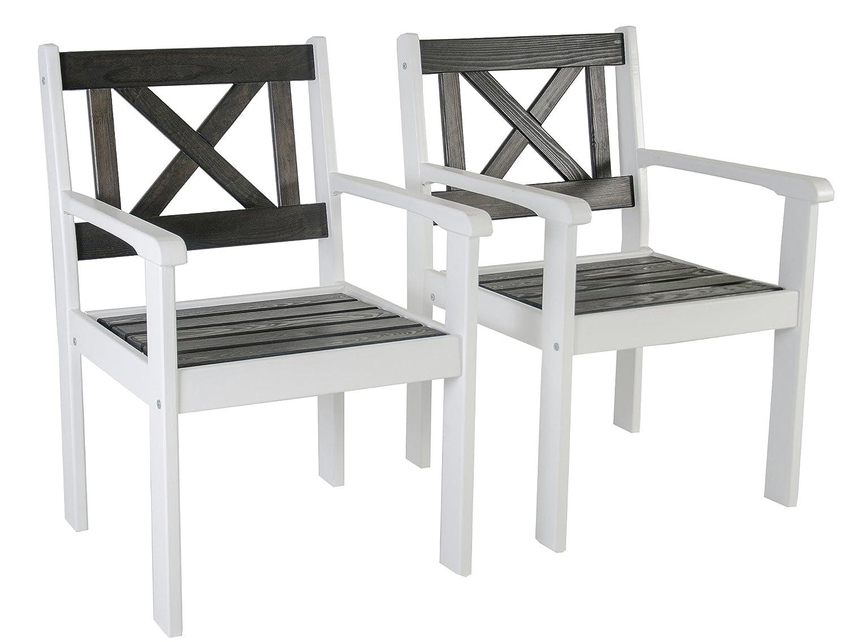 Ambientehome Garten Sessel Stuhl Massivholz Gartenmöbel EVJE, Weiß/Taupegrau, 2-teiliges Set online bestellen
