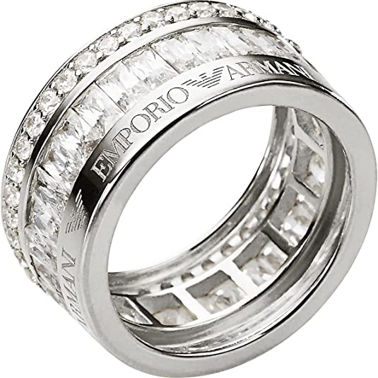 Armani Women's Ring 925 Silver Crystal Size 50 (15.9)-EG3166040