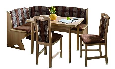 Schösswender Eckbankgruppe Luzern in Buche natur lackiert besteht aus Vierfußtisch mit Auszug und zwei Stuhlen, Bezug Braun uni und beige gemustert
