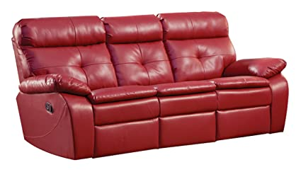 Homelegance 9604RED-3 Double Reclining Sofa, Lava Red Bonded Leather