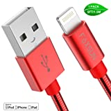 [Apple MFi Certified] Metal USB Lightning Cable, Foxsun iphone Charging Cable 5Ft/1.5M Metal Braided Lightning Cable Cords for iphone X/8/7/7Plus/6/6Plus/6S/6S Plus/5/5S/5C/SE, iPad Pro/Air/Mini (Red) (Color: 5FT/1.5M-Red-Metal USB Lightning Cable, Tamaño: 5FT/1.5M)