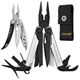 LEATHERMAN - Wave Plus Multitool, Limited Edition - Black/Silver with Nylon Sheath, Black + Leatherman Freestyle Lightweight Multitool, Stainless Steel (Color: Black-Silver w Nylon Sheath)