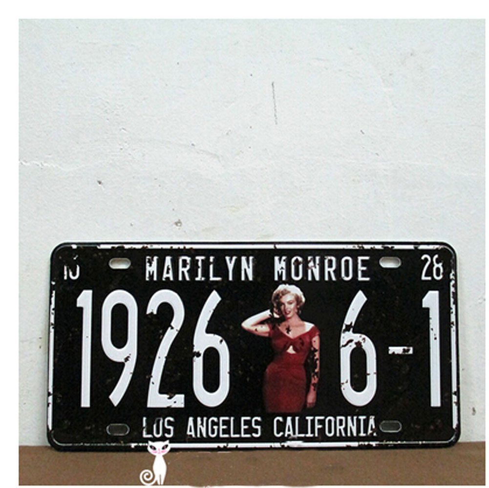 Marilyn Monroe 19266-1 Los Angeles California Vintage Auto License Plate, Embossed Tag Size 6 X 12 tin sign 20x30cm 12552 vintage license plate retro car speed poster