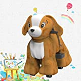Hoverheart Rechargeable 6V/7A Plush Animal Ride On Toy for Kids (3 ~ 7 Years Old) with Safety Belt (Dog)