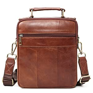b1daf2cea0 Sunmig Men s Genuine Leather Shoulder Bag Messenger Briefcase CrossBody  Handbag (Brown) (Color  Brown
