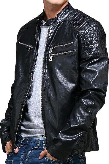 Kunstleder Jacke | Übergangs Jacke | Biker Jacke fur Herren Modell FL-2215 - elegante Kunst-Lederjacke im schlanken Parka-Stil