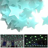 200 Pcs Phosphorescent Star Wall Stickers Fluorescent Glow Night Light Phosphorescent Decoration Baby Space Baby Room Child (3.8cm -200Pcs) (Blue) (Color: Blue)