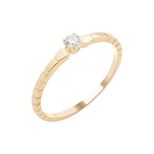 Solitaire Engagement Ring, 9 Carat Yellow Gold Diamond 0.08 cts-of-MY050R8 T58 Set