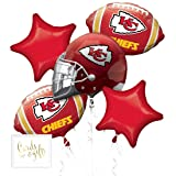 Andaz Press Balloon Bouquet Party Kit with Gold Cards & Gifts Sign, Chiefs Football Themed Foil Mylar Balloon Decorations, 1-Set (Color: Sports Chiefs)