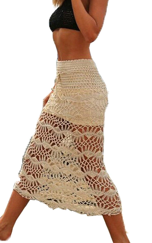 Finejo Women Hollow Crochet Dress Boho Summer Beach Skirts Hand-Knit Long Skirt