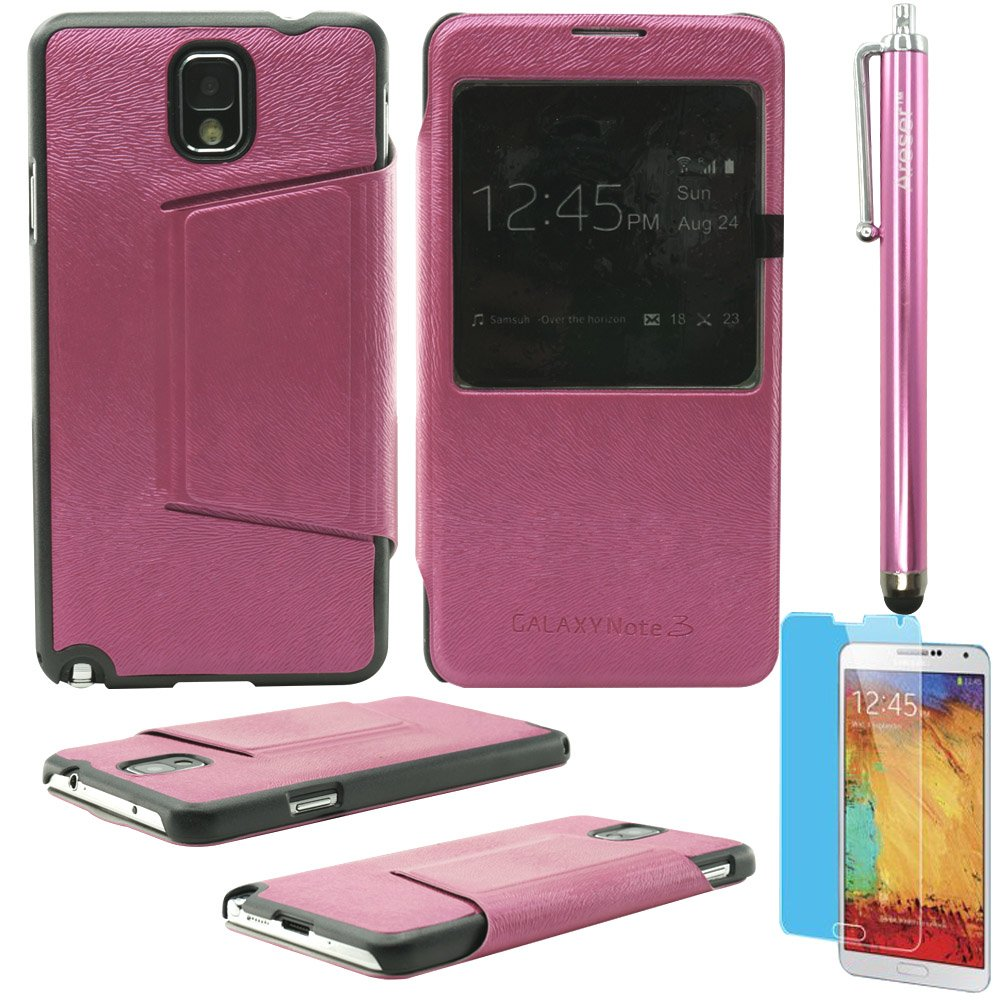 Areser(TM) S-View Flip Cover Leather Case - Pink