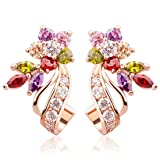 BAMOER Rose Gold Plated Flower Design Multicolor Cubic Zirconia Stud Earrings for Women Girls CZ Jewelry Multicolor CZ