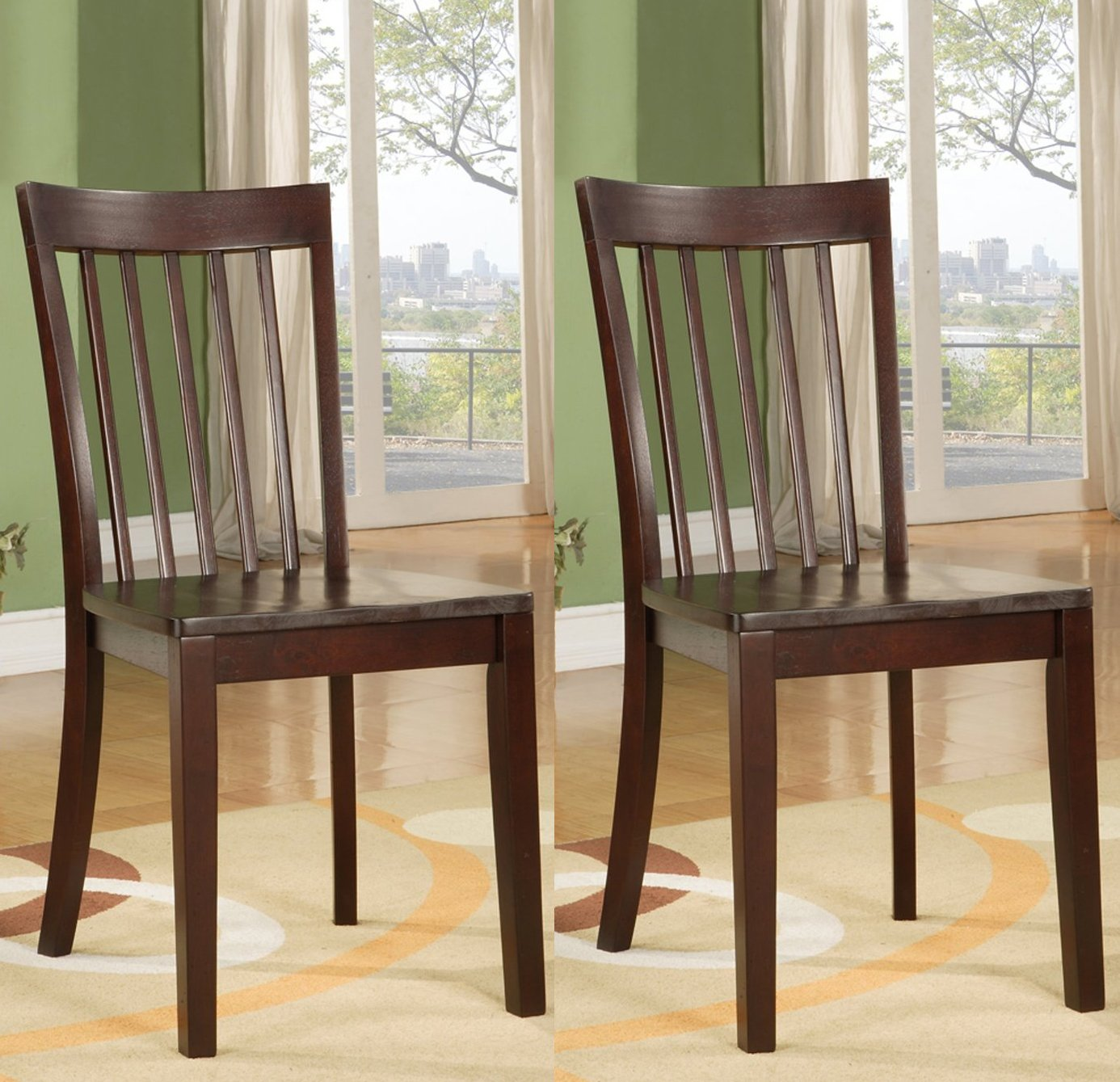 Set 2 heavy duty solid wood cherry finish dining room kitchen side chairs ebay - Wooden dining room chairs ...