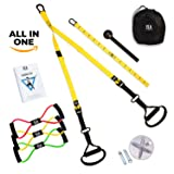 Suspension Trainer Kit Bundle I Bodyweight Resistance Trainer + 3 Chest Expanders + Wall Mount Bracket + Carrying Bag + Bonus Exercise Book I Body Workout & Home Gym  (Color: Neon Yellow)