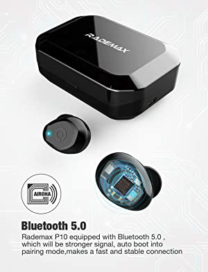 [2019 Upgrade] True Wireless Earbuds, Bluetooth 5.0 Earbuds IPX7 Waterproof 90H Cycle Play Time Headphones Auto Pairing in-Ear Bluetooth Earphones Wireless Headset with 3350mAh Charging Case (Color: Black)