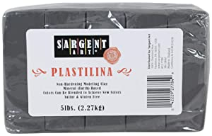 Sargent Art Plastilina Modeling Clay, 5-Pound, Gray (Pack of 2) (Color: Grey, Tamaño: Pack of 2)