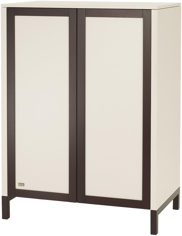 Herlag H1925-0008 Kleiderschrank Alex 2-türig, 100 x 135 x 60 cm, weiß/braun gebeizt, öffnen der Türen durch TIPP ON