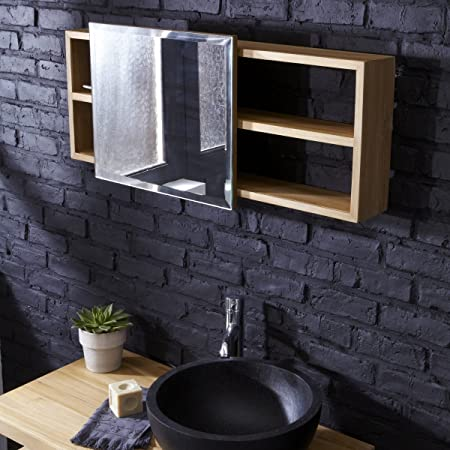 Square Mirror with Integrated Solid Teak Cabinet Bathroom Furniture Tikamoon