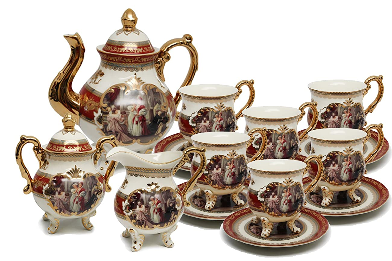 Royal Porcelain 15-Piece Antique RED Vintage Dining Tea Cup Set, Service for 6, Handmade & Hand-Painted, 24K Gold Bone China Tableware 0