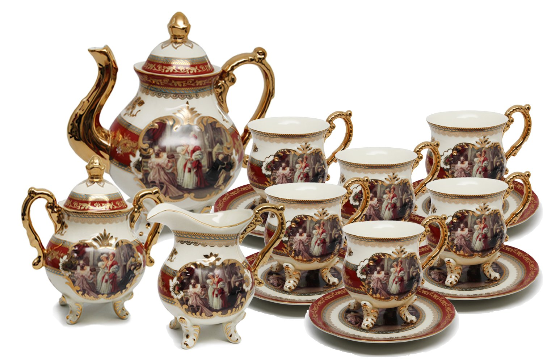 Royal Porcelain 15 Piece Antique Red Vintage Dining Tea