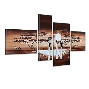 Bilderdepot24 Afrika M13 handgemaltes Leinwandbild 120x70cm 4 teilig 301   Kundenbewertung: