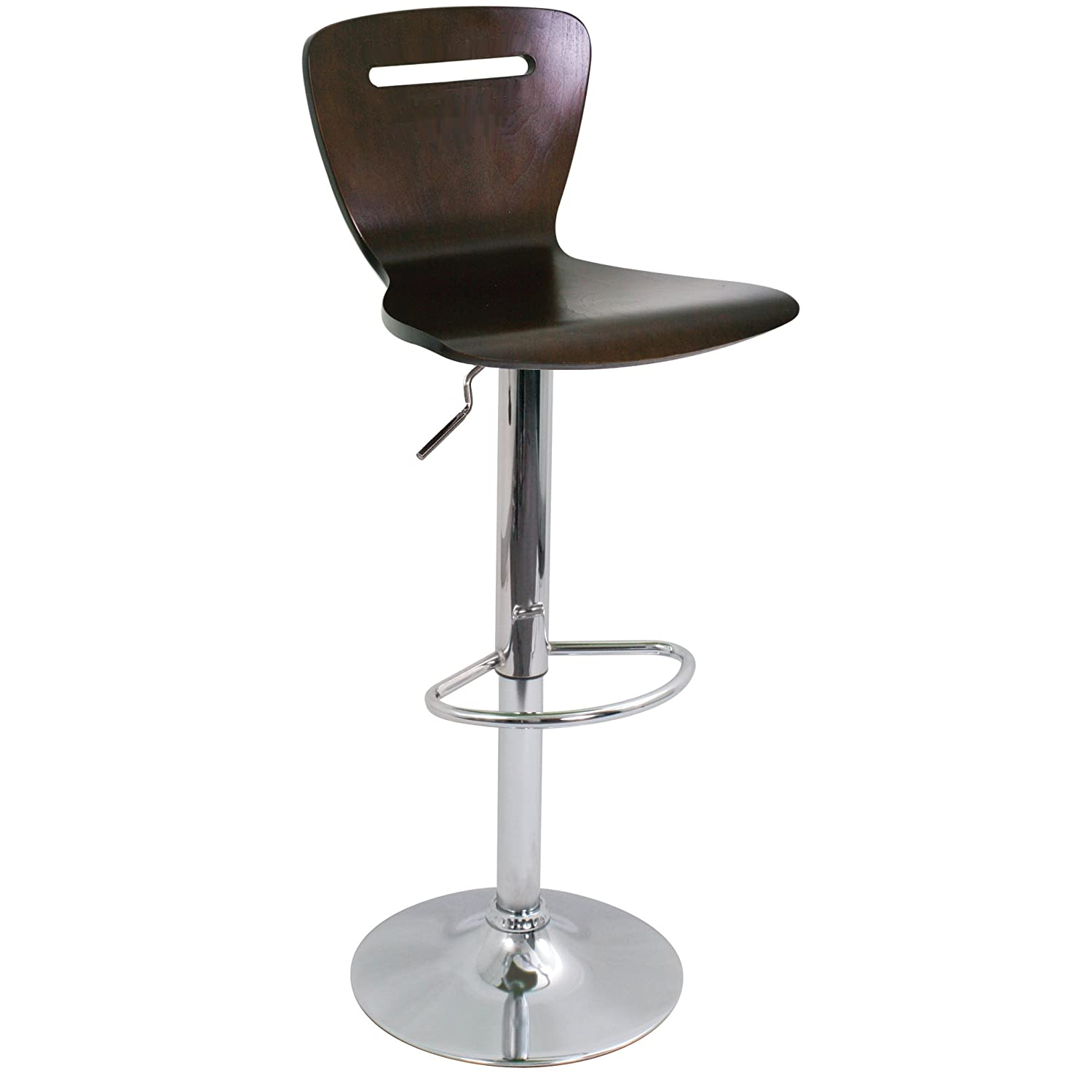 Superb img of Modern Adjustable Wood & ChromeLumiSource H2 Brown Bar Stool with #382E26 color and 1500x1500 pixels