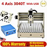 Desktop Engraver Machine, 400W USB Port 4 Axis CNC 3040T Router DIY Engraver Engraving Milling Machine, 3D Woodworking Carving Artwork Cutting Cutter, Precise Stepping Motor for Industrial Hobby Proto