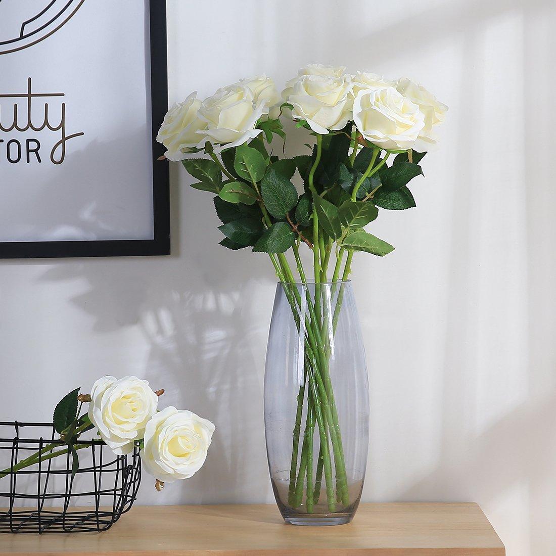 JUSTOYOU 10pcs Artificial Rose Silk Flower Blossom Bridal Bouquet for Home Wedding Decor(White)