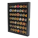 Challenge Coin/Casino Chip Display Case Cabinet Holder Shadow Box, Glass Door, Black (COIN56-BL) (Color: Black)