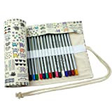CREOOGO Colored Pencils Case Wrap Roll Holder for Artist Adult Coloring Travel Portable Canvas Storage Organizer with a Build-in Pouch Lovely Animals 72 loops (Color: Lovely Animals, Tamaño: 72 loops)