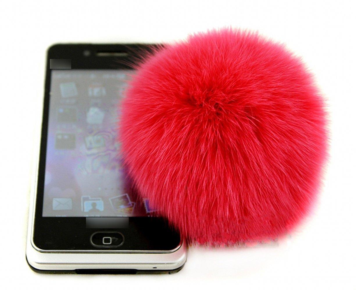 "Fox Pompon Fuzzies Fox Fur Ball Use for Mobile Strap Coppia Keychain 4"""