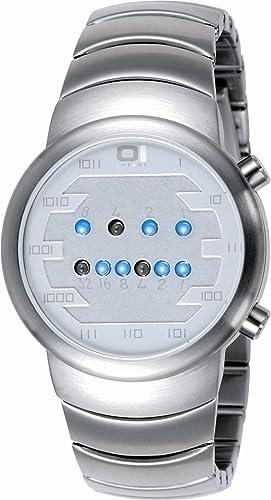 Montre The One Samui Moon chromée avec fond gris et led bleues