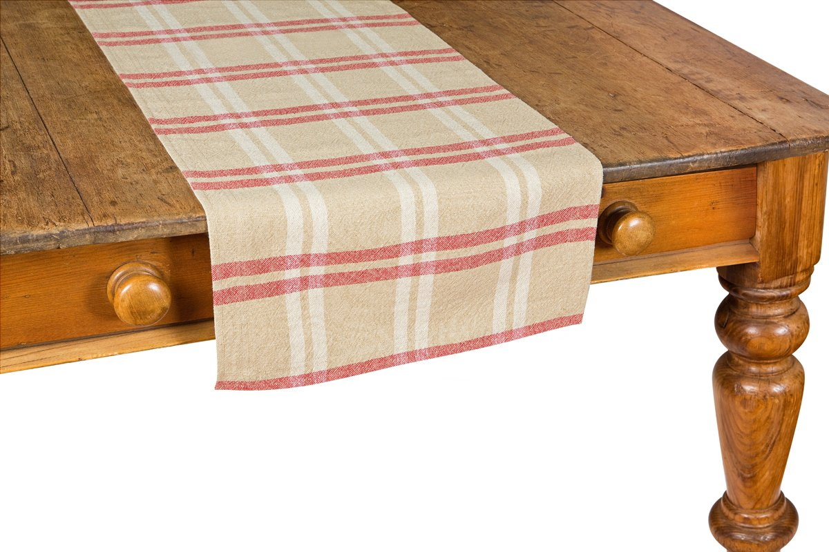 Soft Linen Tan, Red and White Plaid Check Table Runner by Xia Home Fashions