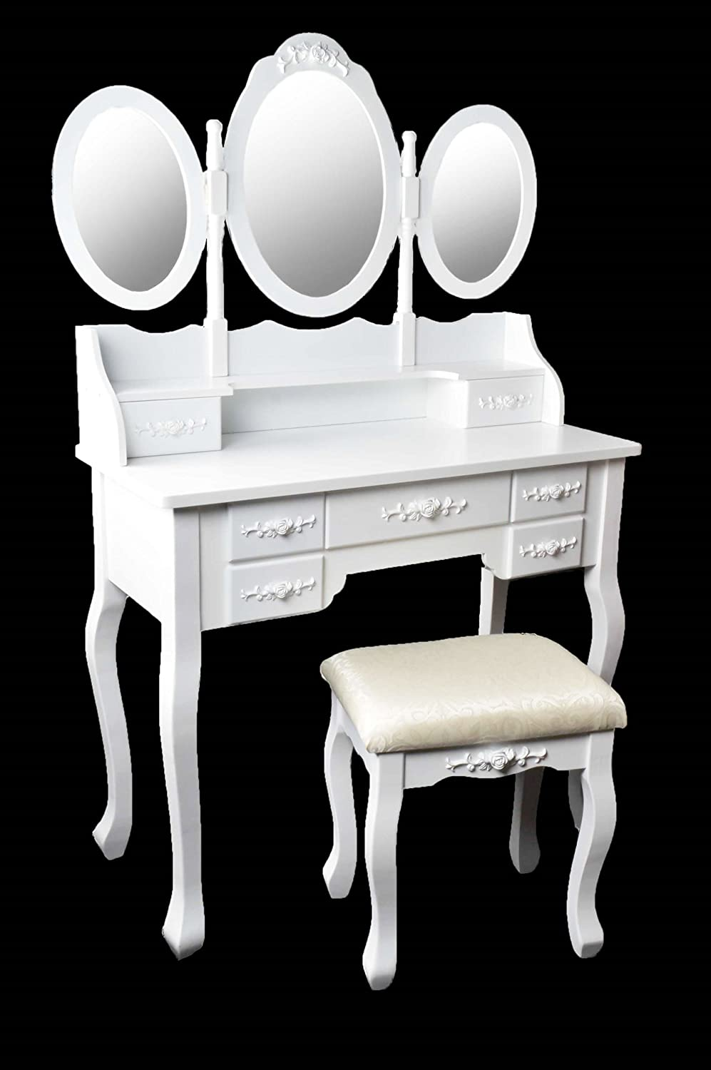 queen coiffeuse coiffeuse coiffeuse avec miroir tabouret vintage blanc. Black Bedroom Furniture Sets. Home Design Ideas