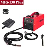 Display4top Portable No Gas MIG 130 PLUS Welder Flux Core Wire Automatic Feed Welding Machine,DIY Home Welder w/Free Mask - 110V (Color: Red, Tamaño: MIG 130 PLUS)