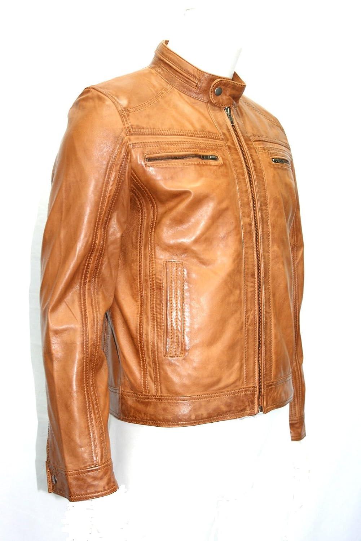 Mann tan Farbe weichen kurzen Biker-Stil aus echtem Leder -Jacken alle Größen jetzt kaufen